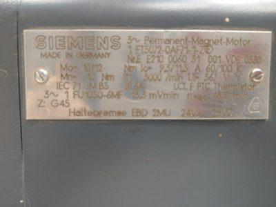 Siemens Servomotor 1FT5 072-0AF71-1-Z (mit Bremse)